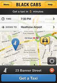 Black Cabs App, Book a London Taxi