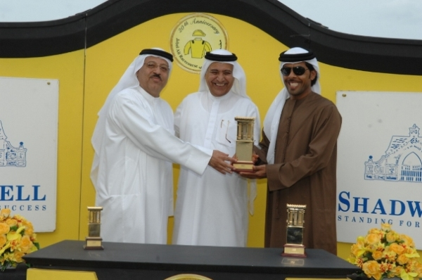 H.E. Mirza Al Sayegh, Director of the Office of H.H. Sheikh Hamdan bin Rashid Al Maktoum, representing Shadwell and Derrinstown Stud at Jebel Ali Racecourse